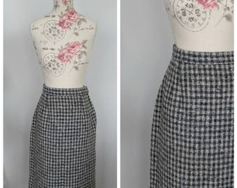 vintage 1950's gray and white checked wool pencil skirt