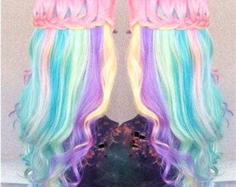 RAINBOW UNICORN MERMAID Clip In Pastel Hair Extensions Underlights, Pastel Hair, Mermaid Hair, Unicorn Hair, Ombre Hair, Human Hair Weave