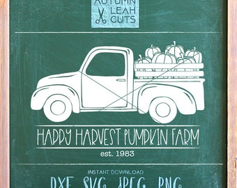 Pumpkin Truck Svg - Pumpkin Farm -- SVG, PNG, Jpeg, DXF cut file for Silhouette, Cricut - Instant Download Clipart - Printable Art