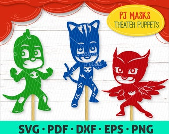 PJ Masks puppets paper silhouettes cutting files SVG, dxf, pdf, png, eps - stick puppets, DIY shadow theater, digital download