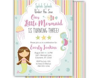 Mermaid 3rd Birthday Invitation | Under the Sea | Cute | Rainbow | Printed Invitations | Digital File