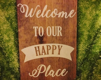 Happy Place Wood Sign