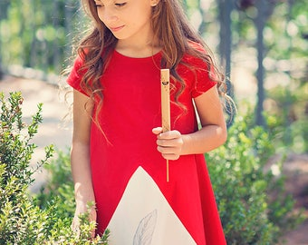 Girls dress, Childrens clothing, Red dress, Cream dress, Girl dress, Girls dresses, Childrens clothing girls, Feathered Fantasy Dress