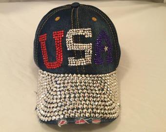 USA Red, White and Blue Bling Baseball Cap