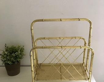 Vintage Midcentury Brass Faux Bamboo Magazine Rack