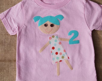 Pink Polka Dot 2nd Birthday Shirt - Little Girl - Size 2T