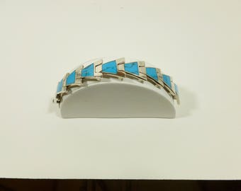 1980s Mexican Modernist Turquoise Bracelet - .950 Silver
