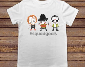 Halloween Shirt For Kids, Halloween Shirt Toddler, Halloween Shirt Boy, Funny Halloween Shirt, Squad Goals Shirt, Chucky Freddy Jason Shirt
