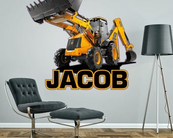 JCB DIGGER PERSONALISED wall sticker boy's bedroom decor decal mural graphic customised
