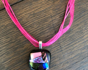 Pink & Lavender Dichroic Glass Necklace