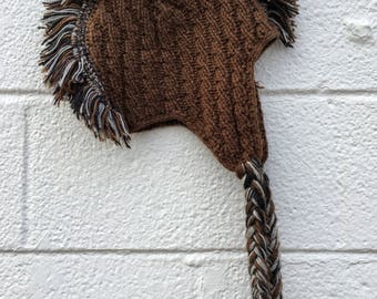 """Brown Hat with a """"Mohawk"""" Fringe from Nepal"""