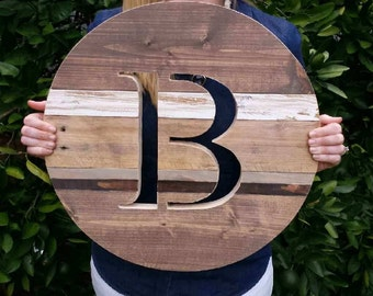 Rustic Reclaimed Wood Round - Farmhouse Style Sign - Round Monogram Sign - 18""