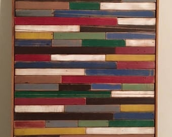 Reclaimed lath wood mosaic, multi- color wall decor