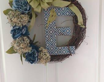 Custom letter E wreath.