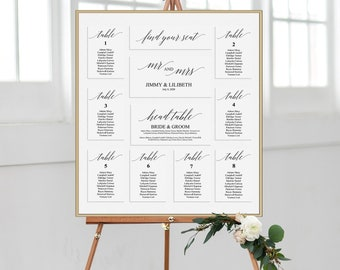 Wedding Seating Chart | Printable Seating Chart | Calligraphy Seating Plan Chart | Printable Wedding Table Chart | DIY Wedding Seating Sign