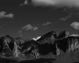 Superstitions// Mountain Photography// Mountain Print// Black and White Photography// Arizona Photo