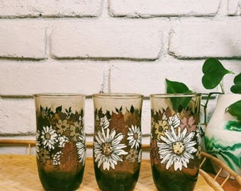 Vintage 1970s Flower Drinking Glasses / Set of 3