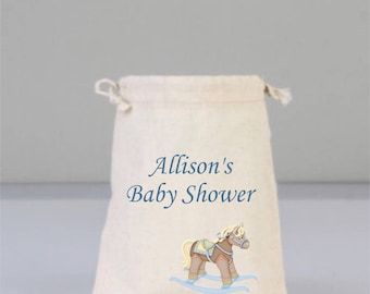 Personalized Baby Shower Pouch, Baby Shower Decorations, Baby Shower Party, Boy Baby Shower, Cotton Horse Toy Bag, Cotton Bag Drawstring