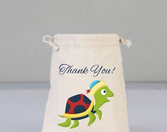 Turtle Thank You Bags, Pool Party, Drawstring Mini Favor Bags, Beach Wedding, Wedding Gifts, Bridal Shower Gifts, Cotton Bag, Birthday Gifts