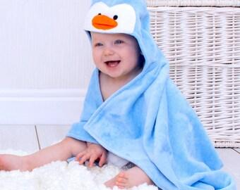Personalised Perky Penguin Baby Towel
