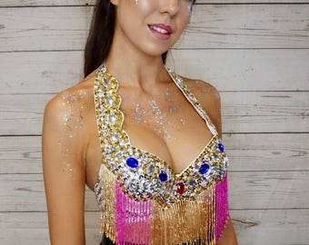 White sequin bra top with beading and sequins gypsy showgirl