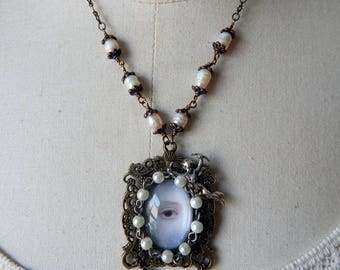 Antique Style Lover's Eye Pendant with Cupid & Freshwater Baroque Pearls