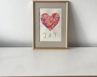 Custom Heart Artwork - Watercolour with Initials