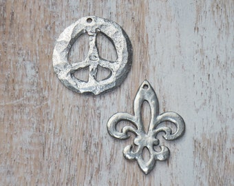 Hammered Pewter Peace Sign or Fleur De Lis Charms