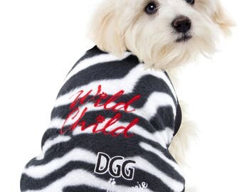 "Dog Polar Fleece Jumper Zebra ""Wild Child"" Design"