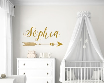 Arrow Name Wall Decal Nursery / Wall Sticker Nursery Vinyl Art. Boho Wall  Decor.