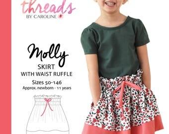 Molly skirt with waist ruffle - ENGLISH
