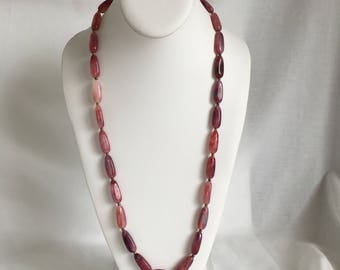 Pink Glass Bead Necklace, Swirl, Rose Color, Vintage, 1980s