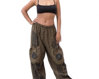 Boho Pants men women, Yoga Pants, Harem Pants, Casual Pants, Buddhist Om Pants, Baggy Pants