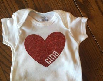 personalized heart onesie