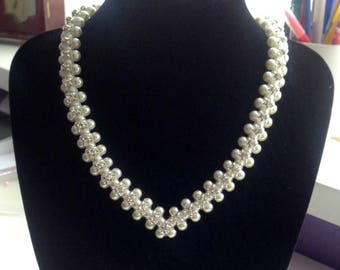 Cream Pearl Necklace with Silver Montee Embellishment