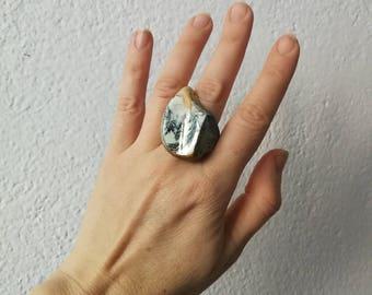 Gold Blue Сocktail ring Porcelain Ceramic  Porcelain  Jewelry Unique Bold  Ring White Porcelain Аgateware Millefiori Milange pottery jewelry