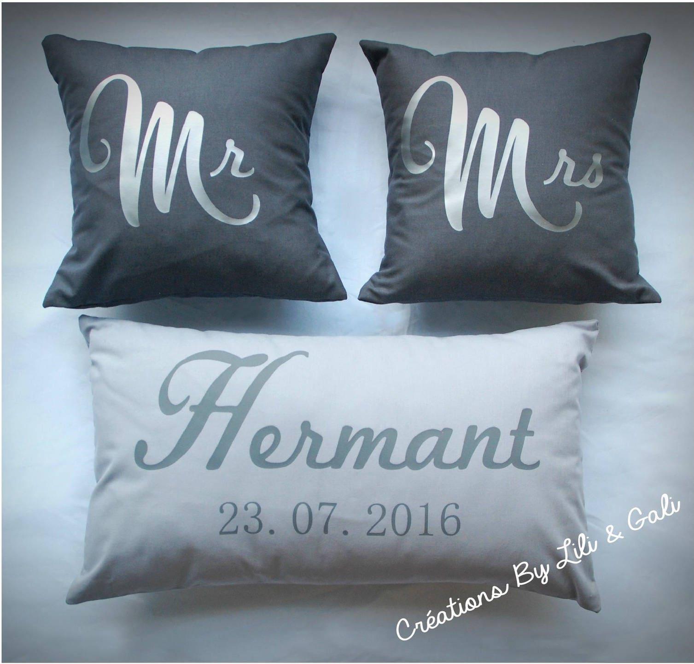 coussins mariage mr et mrs personnaliser cadeau de mariage. Black Bedroom Furniture Sets. Home Design Ideas