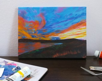 Original Clouds Painting - Sunset - beach - Sky Reflection on Beach - Acrylic Painting - Landscape - Bright Colors - Surreal