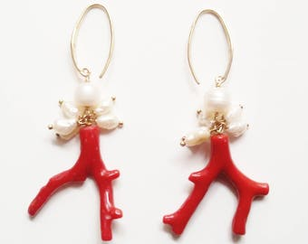 Red coral and white pearls earrings