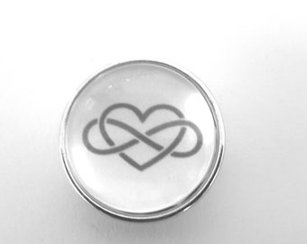 Snap snap 18mm infinity and heart bound in black and white