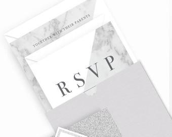 Marble Wallet Wedding Invitation Bundle | Wedding Stationery | Bride to be | Tumblr Wedding | Foiled Invitations | Pocketfold Invites