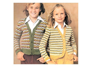 Childrens Cardigans in Striped Relief - Crochet Pattern - Long Sleeve V-neck Buttoned Front