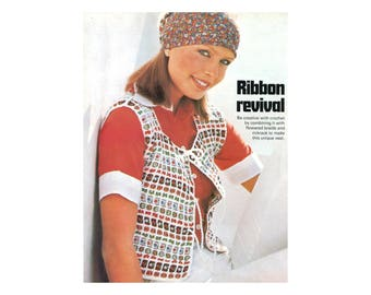 Crochet Vest with Woven Ribbons - Crochet Pattern