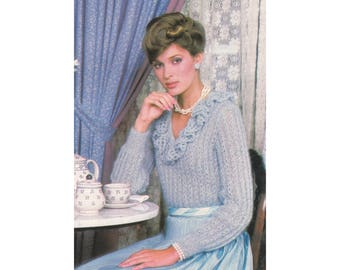 Knitting Pattern - Ruffled Pullover - Soft & elegant with v-neck and lace rosebud pattern