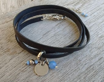 Bracelet - Charm Bracelet - Bracelet in recycled bicycle inner with charm beads - Charm Bracelet - vegan leather strap