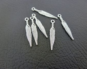 6 charms feather 29 * 5mm antique silver (8SBA21)