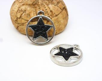 2 round geometric charms with star resin black 19 * 22 mm Matt Silver (8SBA89)