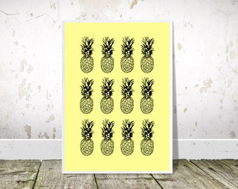 Pineapple Print, Pineapple Wall Art, Pop Art, Printable Art, Pineapples Poster, Yellow Print,Pineapple Decor,Tropical Decor,Kitchen Wall Art