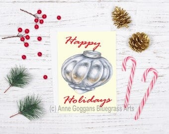Pewter Ornament Happy Holidays Christmas Card