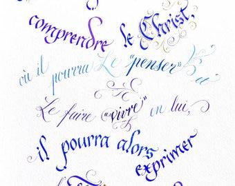 """Calligraphie française // Format petit // Impression sur papier // Style typographies gothique et anglaise // """"Christ"""""""